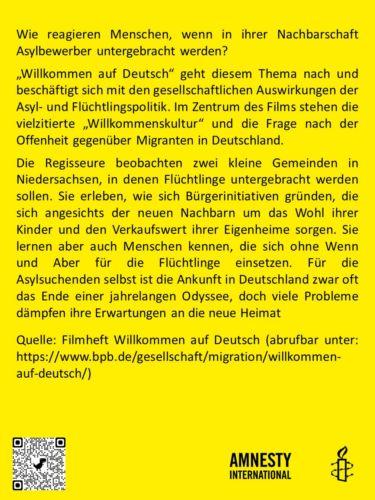 Flyer Film Willkommen auf Deutsch (Rückseite)